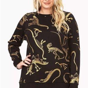 forever 21 plus dinosaur dino fossil sweatshirt 3x